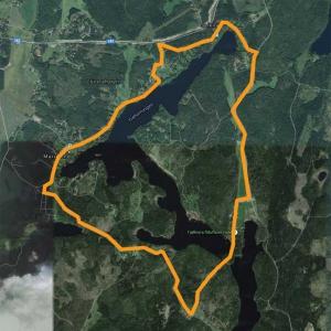 Bansträckning 10,5 km Trehörningen, 6 sjöar runt
